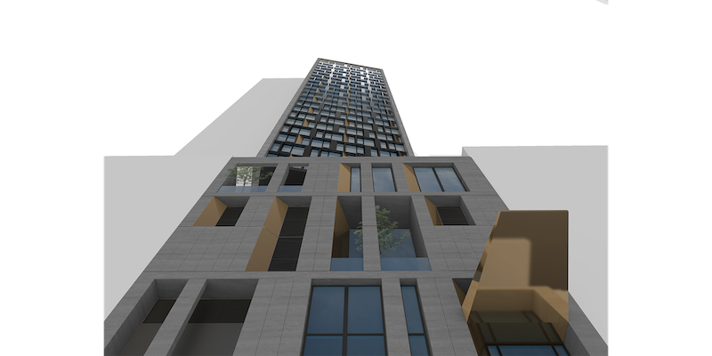 Rendering of completed hotel