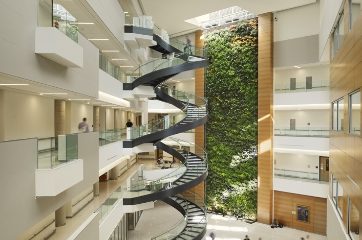 The 1,460-sf green wall at the Papadakis Integrated Science Building, Drexel Uni