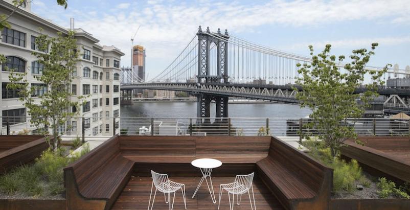 Manhattan Bridge can be seen from James Corner Field Operations' 45 Main Street rooftop