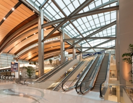 A blend of custom designed elements along with standard rolled sections worked together to complete the architectural expression of the daylit terminal and the open and airy concourse.
