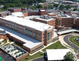 Aerial view of Atrium Helath NorthEast's new Heart and Vascular Tower