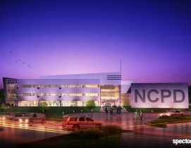A rendering of the exterior of the new Nassau County Center for Training and Intelligence at dusk