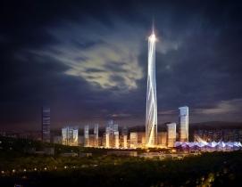Shenzhen-Hong Kong International Center lit up at night
