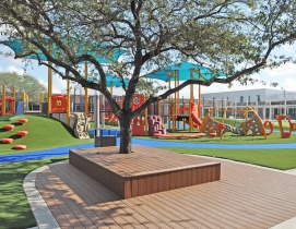 View from classrooms (Building A) to learning platforms and play area at the Awty International School in Houston
