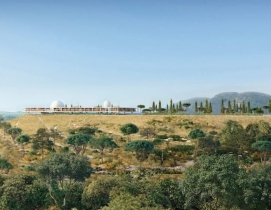 Rendering of the Berggruen Institute on its hilltop site