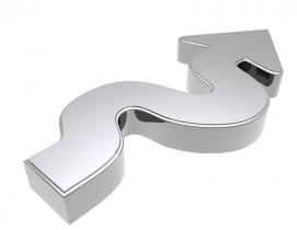 Curving silver arrow