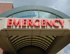 The awning outside an emergency room