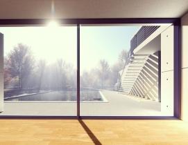 Large window overlooking a pool