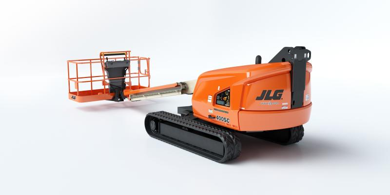 JLG 400SC crawler boom lift has a lift height of 40 feet