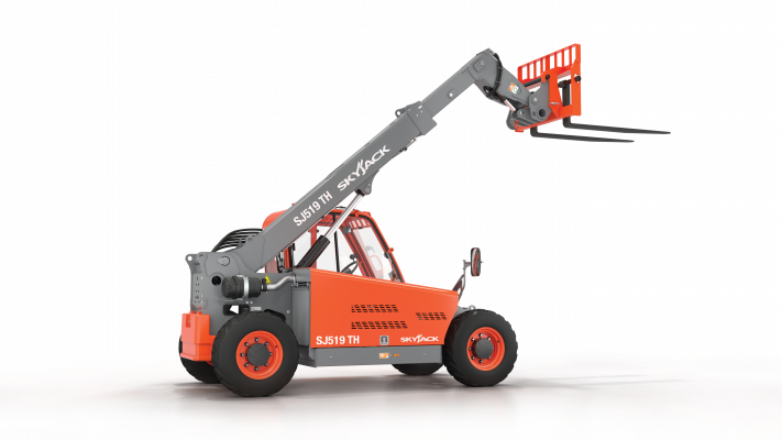 Designed for the rental market, the SJ519 TH compact telehandler offers a 5,500-pound lift capacity and a maximum lift height of 19.1 feet.