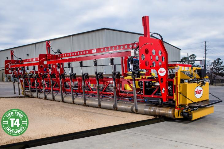 Allen Engineering 255T4 concrete paver is a form riding, triple-roller tube paver