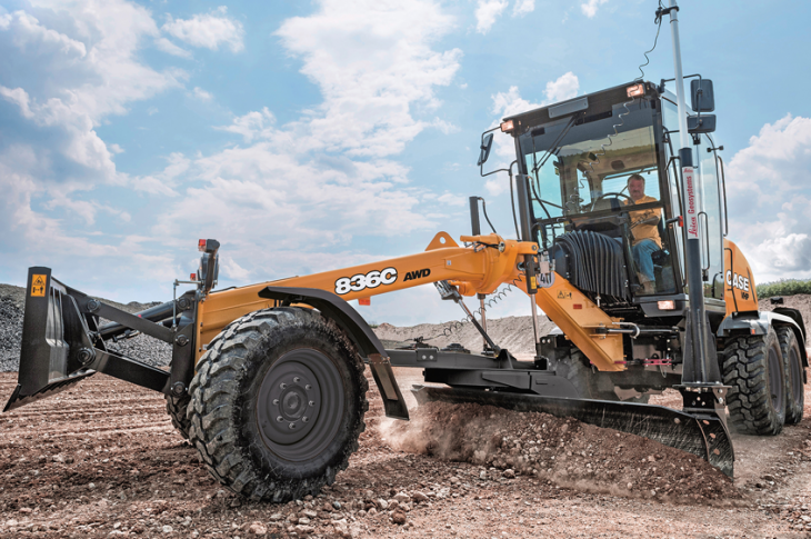 Case 836C motor grader has an operating weight of 24,466 pounds