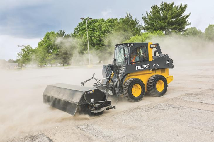 The BA72C, BA84C, and BA96C angle brooms and the BP72C, BP84C, BR60C, BR72C, and BR84C pickup brooms work with John Deere skid steers and CTLs and are compatible with most competitive models.