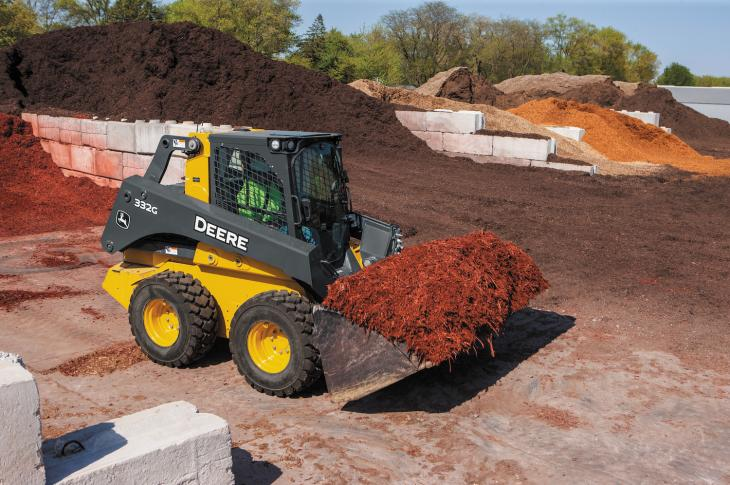 The EH Boom Performance Package is available as a factory-installed option on the 330G and 332G skid steers, and the 331G and 333G compact track loaders.