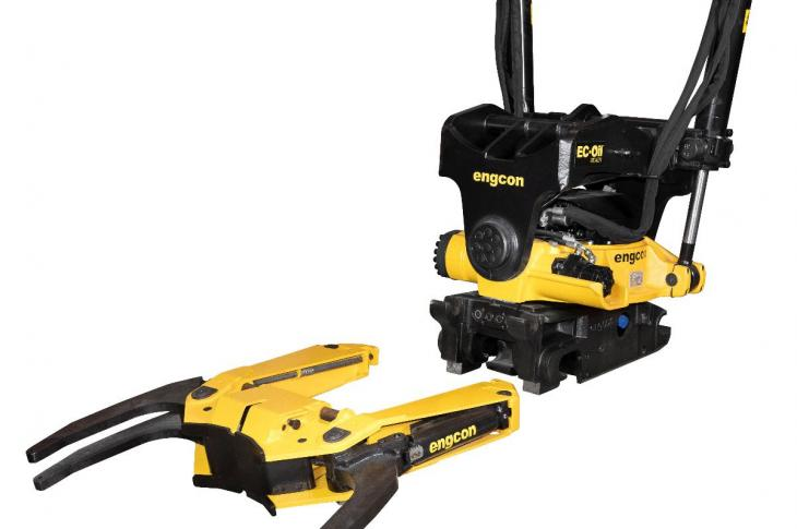 The GRD70 grab cassette for tiltrotators requires no screwing or manual connection of hydraulics; the excavator operator can connect or disconnect the grab cassette in less than one minute, the company says.