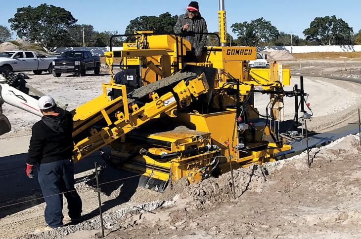 GOMACO Commander II two track curb and gutter machine combines the simplicity of a two track paver with the GOMACO G+ digital control system.