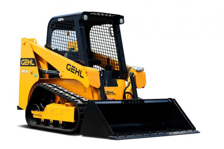 A Gehl RT135 compact track loader sits at rest.