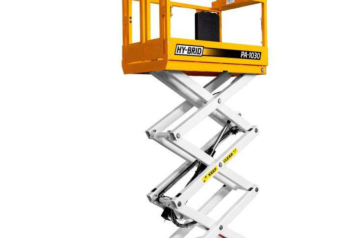 Hy-Brid PA-1030 scissor lift is manually pushed into place