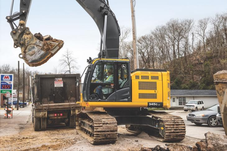 John Deere 345G LC reduced tail swing excavator has an operating weight of 80,788 pounds