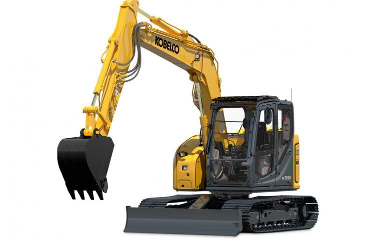 Kobelco SK75SR-7 excavator has a 70 horsepower engine.