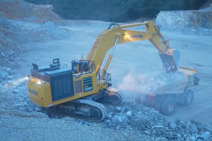 Komatsu PC1250-11 excavator has a 758 horsepower engine