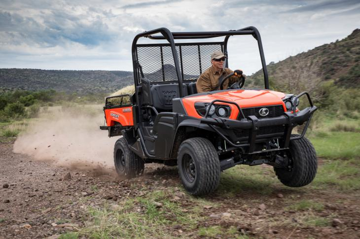 The RTV-XG850 Sidekick UTV is built for construction and commercial applications. The two-seat unit has a 48-horsepower Subaru gasoline engine with electronic fuel injection and a 1,000-pound-capacity steel cargo bed that can dump materials.