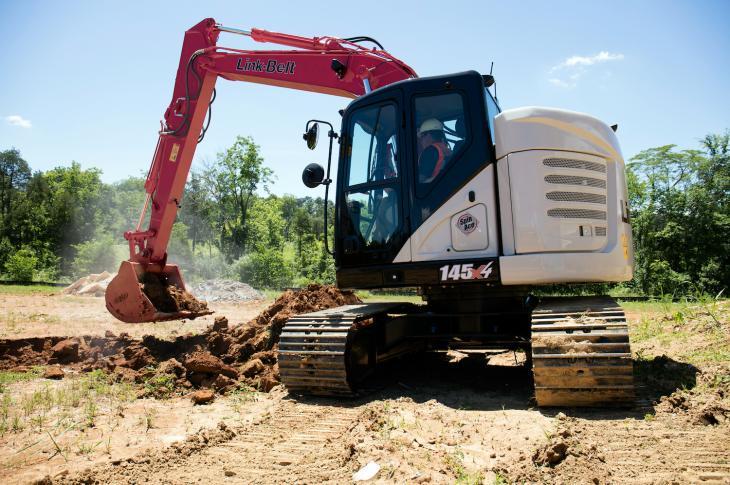 Link-Belt 145 X4 excavator has a 102-horsepower Isuzu engine that meets Tier 4-F requirements