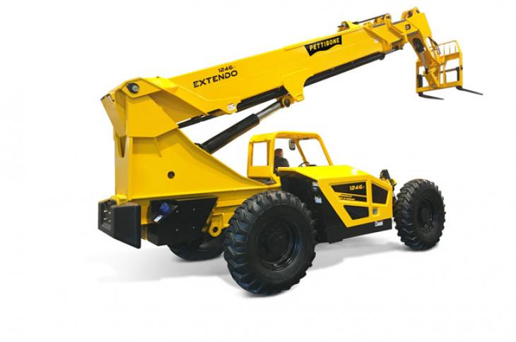 Pettibone Extendo 1246X telehandler has a load capacity of 12,000 pounds.