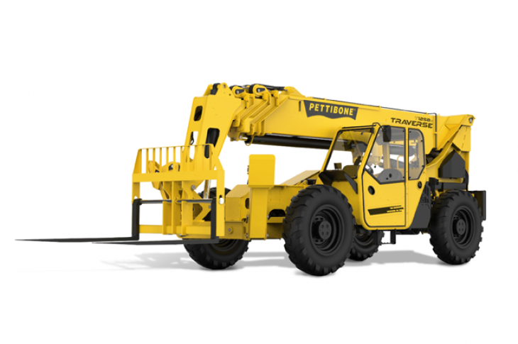 Pettibone The Traverse T12158X telehandler has a maximum load capacity of 12,000 pounds