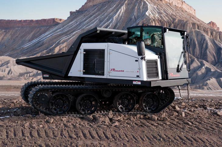 Prinoth The Panther T7R crawler carrier handles a payload of 15,432 pounds.