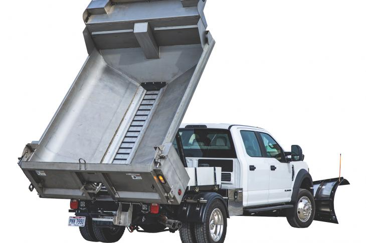 The SaltDogg Medium Duty MDS combination dump spreader is designed for commercial and municipal applications on Class 4-7 trucks such as the Ford F-Series, Freightliner M2 Series, International CV Series, Chevrolet Silverado chassis cabs, and RAM chassis cabs.