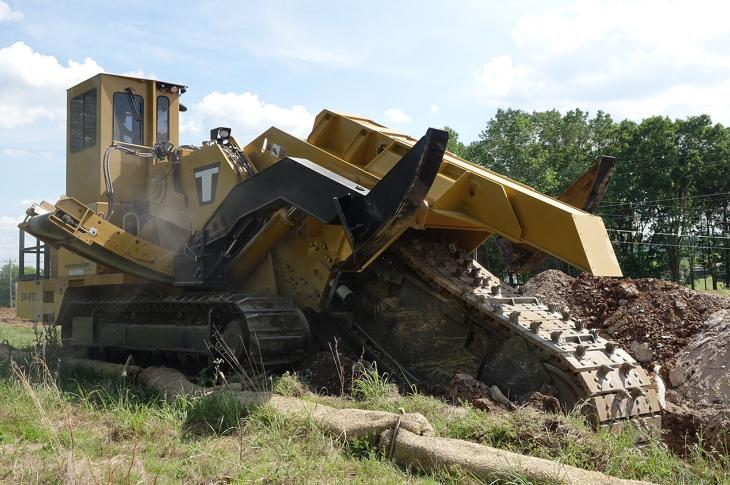 The T14-54/617 trencher has a maximum-cut capability of 54 inches and is powered by a 617-horsepower Tier 4-F engine.