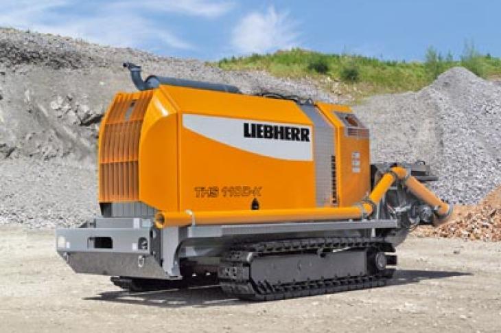 Liebherr THS 110 D4f-K crawler concrete pump has a a maximum concrete output of 133 cubic yards per hour