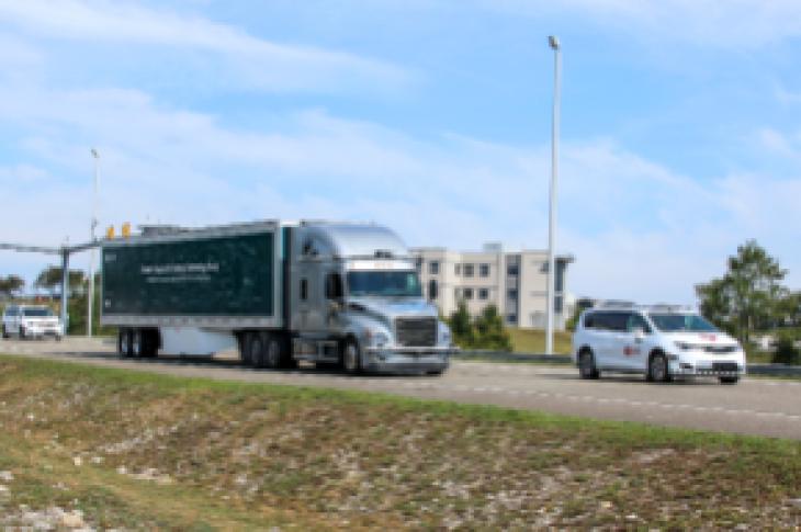 Daimler's autonomous truck on the road.