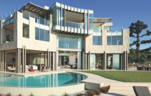 Exterior, poolside of modern mansion in hills above Los Angeles by Landry Design Group