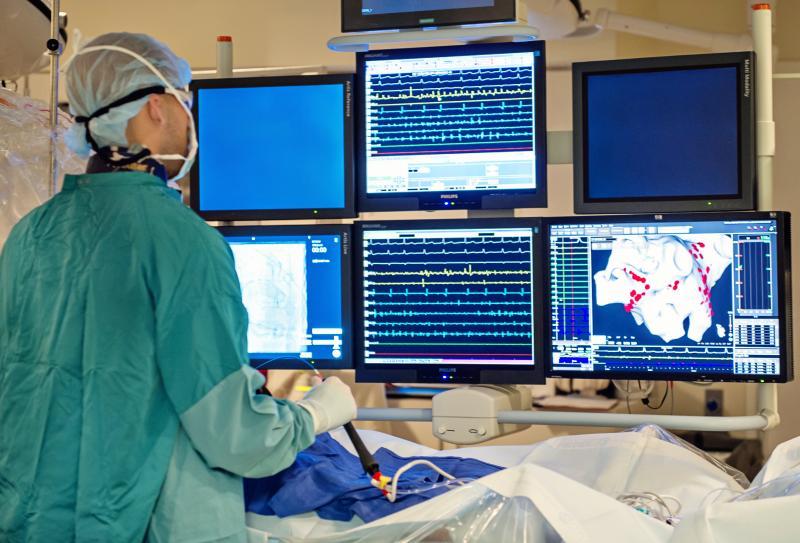 An electrophysiology EP ablation procedure to treat a heart arrhythmia