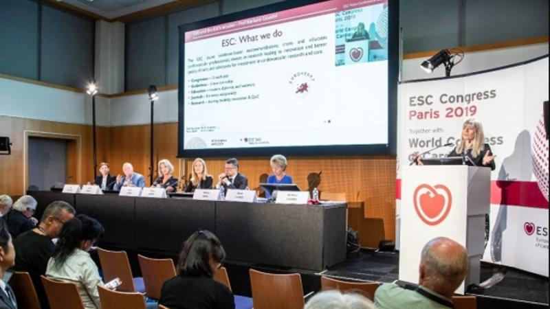 ESC President Barbara Casadei, M.D., DPhil, FRCP, FESC, a British Heart Foundation Professor and an honorary consultant cardiologist at the John Radcliffe Hospital in Oxford, speaks at a press conference at the 2019 ESC Congress. #ESC19 #ESC2019