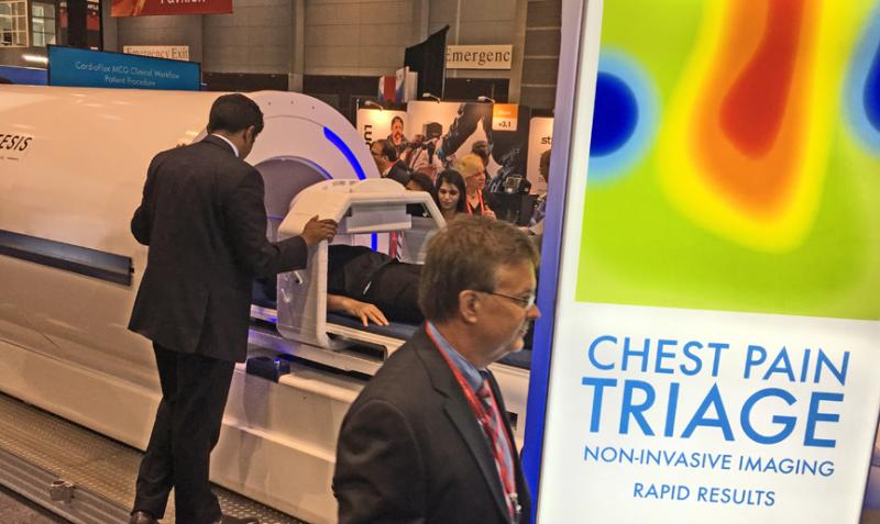 The startup company Genetesis introduced a new cardiac imaging modalityit calls magnetocardiography. The scanner creates images from the biomagnetic activity of the heart, using the polarization and depolarization of the heart during the cardiac cycle. This was at AHA.18, AHA 2018 - the American Heart Association annual meeting