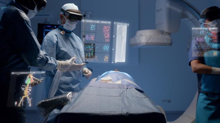 Philips and Microsoft have partnered to develop an augmented reality system to help imporve workflow and procedural navigation in the cath lab. Physicians wearing visors can view and interact with true 3-D holograms of anatomy and view things like hemodynamic data.