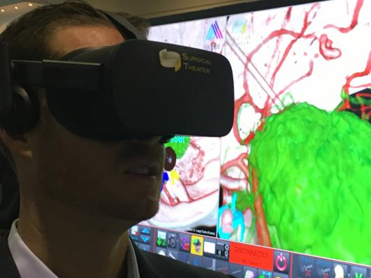 A demonstration of virtual reality (VR) to aid neuro-surgical planning and to help educate patients on what will happen during their procedures. This demo was in the e+ and Surgical Theater VR booths.