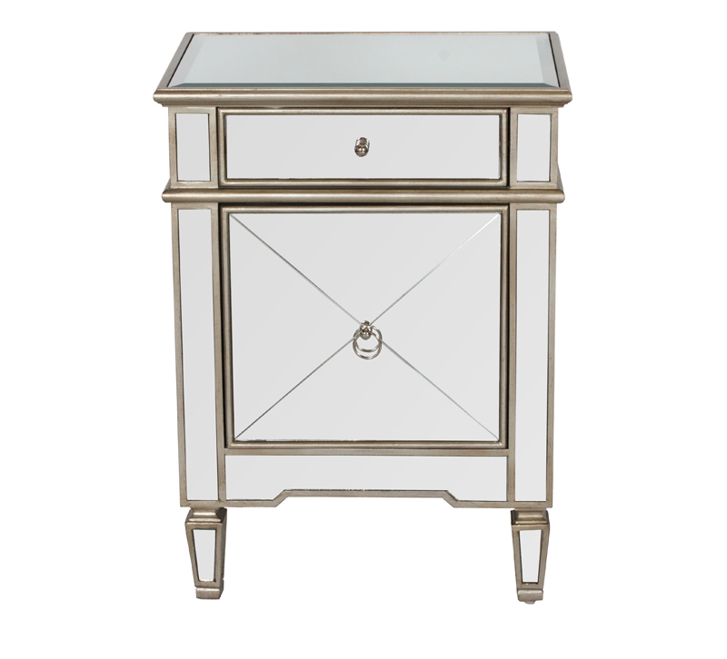 Claudette mirrored Nightstand with one drawer and cabinet from Worlds Away