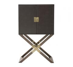 Clarendon Bar Cabinet with wood legs and the case wrapped in Vienna walnut bound leather from Bernhardt