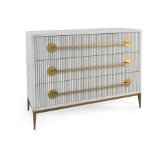 Carlyle three-drawer chest in white with gold handles from John-Richard