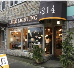 Outside of Luxe Lighting Company on Greenwood Avenue in Seattle, Washington.