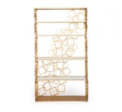 Balboa Étagère in gold with repeating squares on the sides and along the back of the bookcase from Badgley Mischka Home