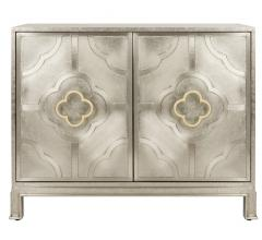 Antonella metal chest in Champagne with two doors and quatrefoil hardware from Safaveih