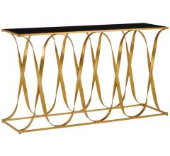 Sabine Console with a ribbon-like iron base finished in Gold Leaf with a black top from Currey & Co.