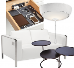 Drawer, lamp, loveseat and tables on white background