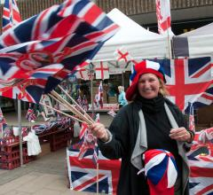 Woman in England selling royal wedding merchandise