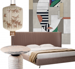 Graphic with Idea Board products including a bed, rug, lantern and coffee table